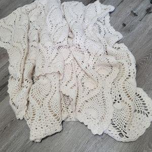 Vintage crochet afghan throw blanket handmade